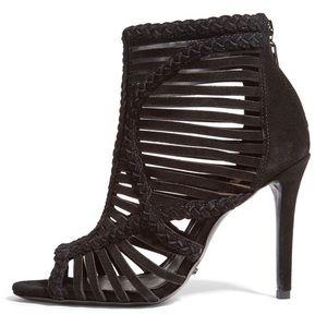 YOKO Schutz Suede Braided Cutout Heel Sandal Black